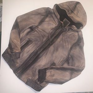 All Saints Leather Hooded Bomber